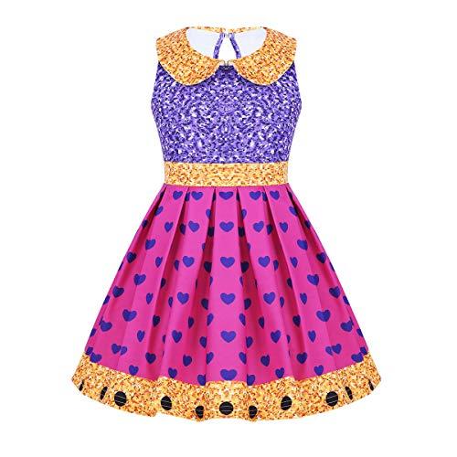 dPois Kinder Mädchen Prinzessin Kleid Ballerina Kleid Puppe Kostüm Festlich Party Kleid Cosplay Karneval Fasching Halloween Kostüm Verkleidung Gr.92-128 Purple&Rose Red 98-104/3-4Jahre