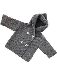 Abrigo para bebé en punto,Yannerr niños niñas traje ropa botón con capucha suéter cardigan tops