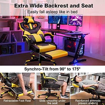LANGRIA Gaming Silla ergonómica Silla de Oficina de Escritorio para computadora Pesado con inclinación de 90-175 °, Cuero de PU, reposacabezas Desmontable y Soporte Lumbar (Amarillo y Negro)