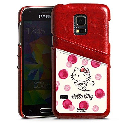 Samsung Galaxy S5 mini Lederhülle Leder Case mit Schlitz für Kreditkarte Brieftaschen Cover Hello Kitty Fanartikel Merchandise Fan Article Merchandise