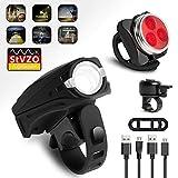 WEYO LED Fahrradbeleuchtung Set Mit Fahrradklingel, USB Wiederaufladbare LED Fahrradlichter Set für Radfahren, Frontlicht (5 Licht-Modi), Rücklicht (4 Licht-Modi), Frontlicht und Rücklicht Fahrradlampe Set