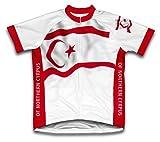 République Turque de Cyrpus du Nord Drapeau à manches courtes Maillot de cyclisme pour femme Large Blanc - blanc