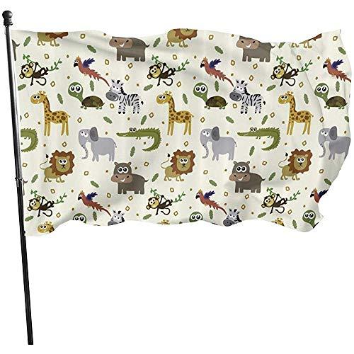 ALLdelete# Flags Safari Lion Elefant Krokodil dauerhaft verblassen beständig dekorative Fahnen Flagge mit Ösen Polyester Outdoor Banner für alle Jahreszeiten Urlaub 3 X 5 ft -