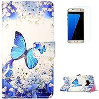 KaseHom Samsung Galaxy S8 + [Protector de Pantalla] Dibujos Animados Estuche Billetera de Cuero Folio con Ranuras para Tarjetas y Cubierta Flip magnética Slim Anti-Arañazos Case - Mariposa Azul