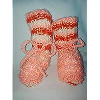 Scarpette per neonata di colore Salmone - Arancione- Avorio Taglia da 0/6 mesi