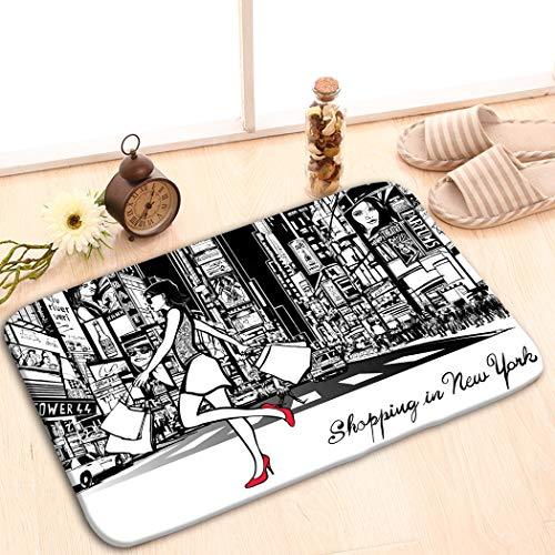 zexuandiy Home Decorator Floor Mat Non-Slip Carpet 23.6x15.7 Shopping Times Square New York Night All ads imaginar