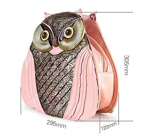 Sacchetto di scuola squisito squisito della borsa della borsa della borsa di zaino del cuoio del gufo , Bianca pink