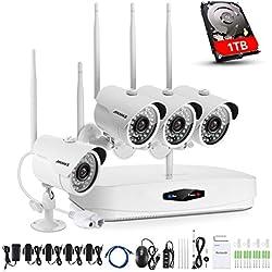 ANNKE Wifi Überwachungskamera-Set 4CH 1080P Wireless NVR System mit 4PCS 1080P WLAN Außen Kamera und 1TB Festplatte eingebaut für Innen und Außen, Onlinezugriff, Bewegungserkennung mit E-Mail-Alarm
