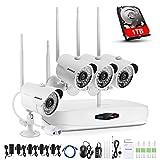 ANNKE Funk Überwachungskamera-Set, 1080P NVR mit 1TB Festplatte + 4 * 1080P IP Überwachungskamera für Innen und Außen, Onlinezugriff, Bewegungserkennung mit E-Mail-Alarm
