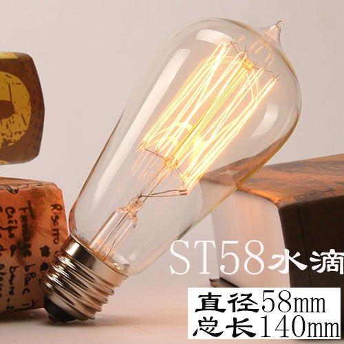 Vintage Edison die Glühbirne Edison die Glühbirne E27 Schraube retro Tungsten satin Quelle künstlerischen Persönlichkeiten Leuchte warmes Licht Kronleuchter, andere geführt werden, ST5 tropft Wasser -