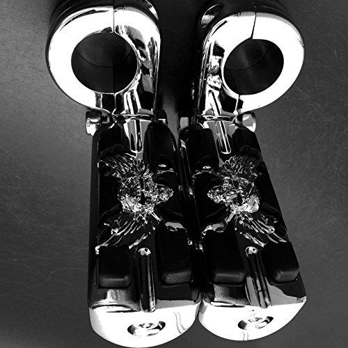 Wing Skull Zombie Form 11/10,2cm Highway Stiletto 4475Fußrasten p-clamps für Harley Sportster Touring chrom Body Schwarz Gummi Qualität Produkt