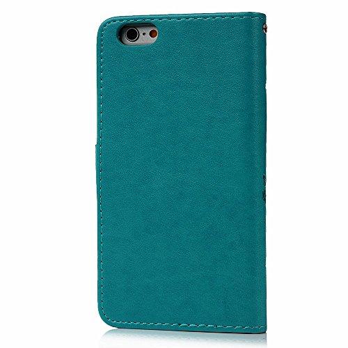 """iPhone 6 Plus 6S Plus 5.5"""" Smartphone Coque - Lanveni® Case Couverture de Protection Housse Étui en PU Cuir Coloré Fonction Support Papillon Relief - Violet Bleu"""