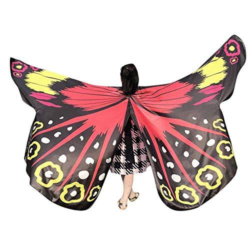 WOZOW Damen Schmetterling Schmetterlingsflügel Kostüm Karneval Fasching Faschingkostüme -
