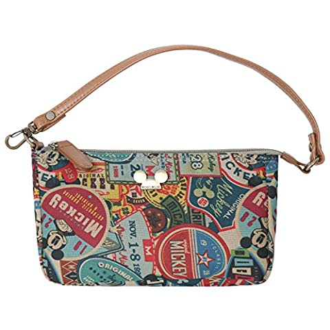 Disney Vintage Style Pattern Pouch Bag Mickey Mouse Purse, Brown