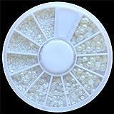 Gleader Weisse Perlen Nail Art Steine Perlen unterschiedlicher Groesse in runder Box