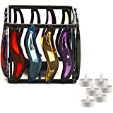 Aapno Rajasthan Multi Color Glass Panes Square Wrought Iron Tea Light Holder & Free Tealight For Diwali