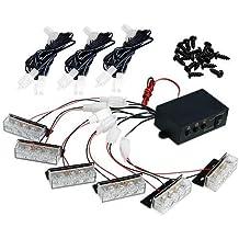 TOOGOO(R) 18 LED de luz estroboscopica flash estroboscopico emergencia Pegatina Luminosa Blanca