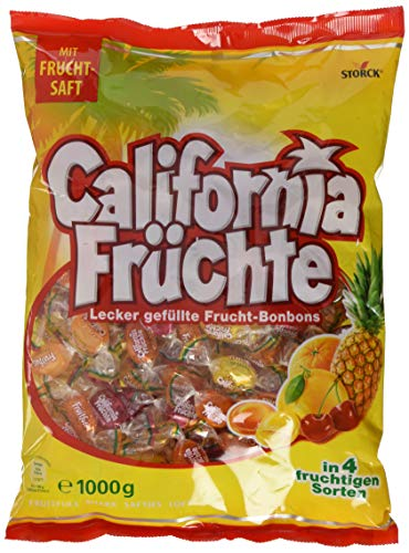 California Früchte – Fruchtige Lutschbonbons mit Fruchtsaftfüllung in verschiedenengeschmacksrichtungen wie Ananas &grapefruit – (1 x 1 kg Beutel)
