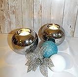 Exner Teelichthalter Kerzenhalter Kerzenständer Kugel rund Silber Keramik (10x10x8)