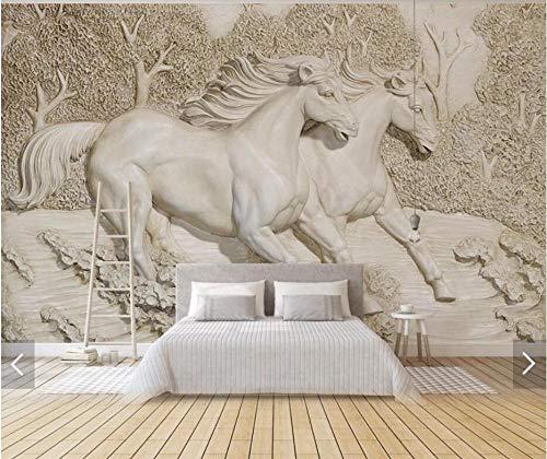 Papel pintado 3D con diseño de caballo en relieve