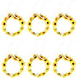 Lurrose 6pcs girasol diadema margarita flor corona corona de pelo ajustable para la fiesta de bodas fiesta (amarillo)