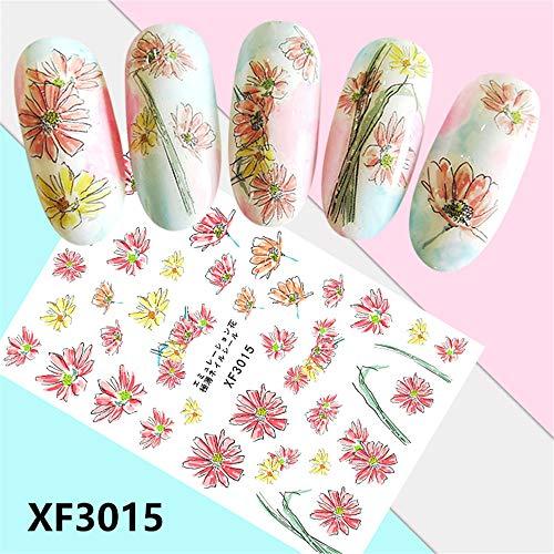 (Mitlfuny Gesundheit Und SchöNheitDIY Dekoration 2019,Frische Art-Blumen-Druck-3D-Nagel-Kunst-Aufkleber-Maniküre-Adhesive Transfer Decals)