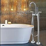Galvanik Retro Wasserhahn Groß- und Einzelhandel auf dem Boden montiert Freistehend Badewanne Chrom Mischbatterie Armatur mit Handbrause 2 Beine, Klar