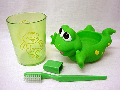 WORKING HOUSE (Baño / Accesorios Plástico) Juego Vaso Y Cepillo Dientes Infantil Goma Dura Rana Verde