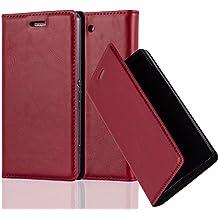 Cadorabo - Funda Book Style Cuero Sintético en Diseño Libro Sony Xperia Z3 COMPACT / MINI - Etui Case Cover Carcasa Caja Protección con Imán Invisible en ROJO-MANZANA