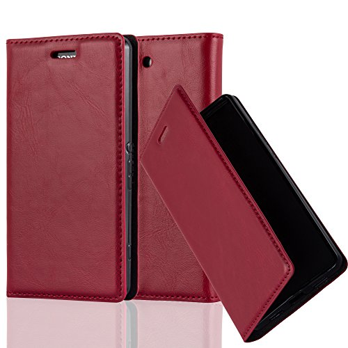 Cadorabo Hülle für Sony Xperia Z3 COMPACT - Hülle in Apfel ROT – Handyhülle mit Magnetverschluss, Standfunktion und Kartenfach - Case Cover Schutzhülle Etui Tasche Book Klapp Style