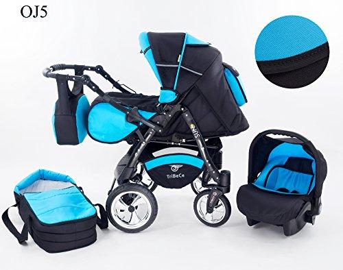 """Kinderwagen Babywagen Kombikinderwagen TriBeCe\""""Sun\"""" 3 in 1 Komplettset mit Zubehör 0-3 Jahre 0-15 kg Insektenschutz Netz Regenschutz Getränkehalter Buggy Autositz (OJ5)"""