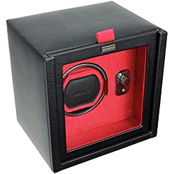 Dulwich Designs mens accessories | black & red single watch winder rotator