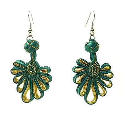 Boucles D'oreilles femme satin pliage vert émeraude et doré or