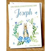 PERSONALISED On Your Christening Day Card Naming Day Baptism First Birthday Peter Rabbit Child Girl Boy Blue Auntie Uncle Grandmother Grandad Mum Dad Brother Sister Friend Baby