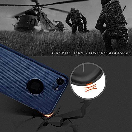 """MOONCASE iPhone 7/iPhone 8 Coque, Fibre de Carbone Flexible Armure Housse Ultra Slim Anti-éraflure Antichoc Protection Étuis Cases pour iPhone 8 4.7"""" Red Red"""