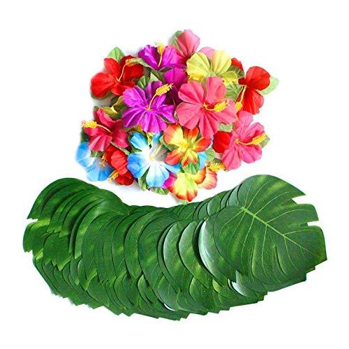 gzq 60 PCS Tropical Party Dekoration Supplies 20,3 cm Tropical Palm Fensterblätter Blätter und Hibiskus Blumen Künstliche Blumen Blumenmuster Fake Seide Blatt Jungle Beach Thema Tischdekorationen