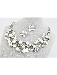 Miya® Conjunto de joyas, plata, estilo retro, collar con bonita perla y flores, incluye pendientes, ideal para novias