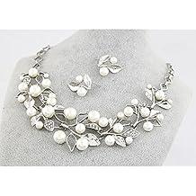 Miya mega glamour Parure Argento vecchio moda tempo collana con bella perla fiori e orecchini, sposa gioielli sera evento Party Jugendweihe, gioielli Set