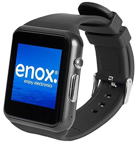 """Enox SWP22 SCHWARZ Smartwatch Smartphone Handyuhr SIM Karten Einsatz 1,54\"""" Farb-Display Fitness-Features Handy Bluetooth Uhr zum Verbinden mit Android und iOS Geräte"""
