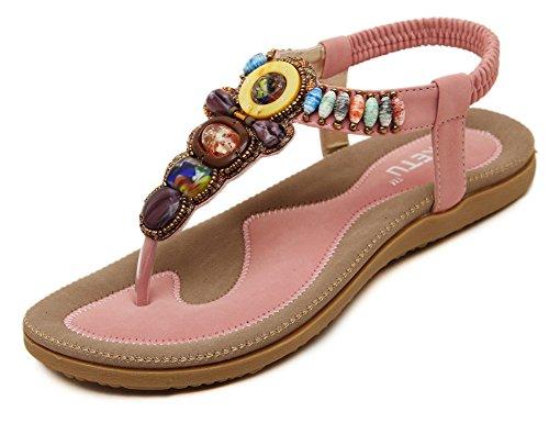 Bohemian-Stil bequeme elastische Sommer flache Sandalen für Frauen wulstigen ovx4h