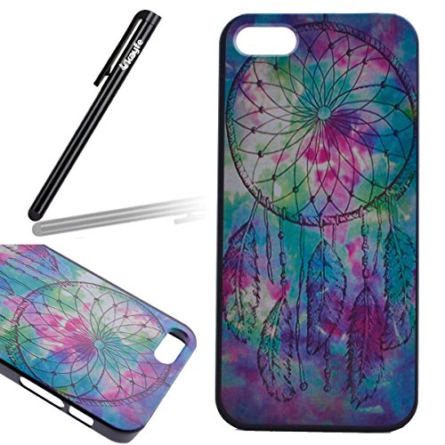 Ukayfe Ultra Slim Hard Plastica Protettivo Skin Custodia Stilosa custodia di design Protettiva Shell Case Cover Per Apple iphone 5C Con free Stilo Penna - Black Mouth-we are all mad here Acquerello Dreamcatcher
