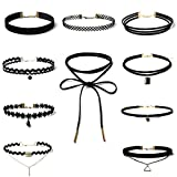 DOLDOA Damen Elegant Halskette, Mädchen Frauen 10 Stück Choker Halsketten Set Tattoo-Kette Collier Necklace Schmuck-Sets Velvet Halskette Tattoo Punk Gothic Halsband Gliederkette Schwarz