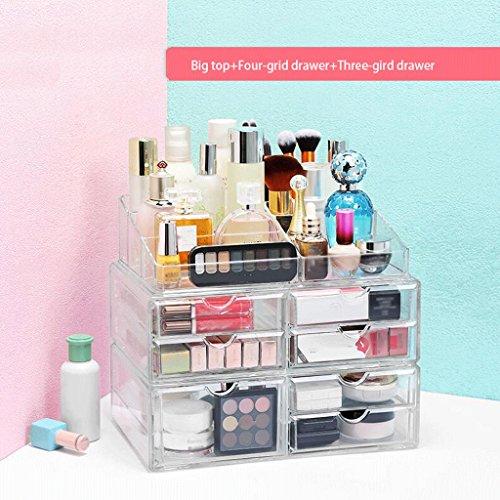 UOMUN Étui de Maquillage Boîte de rangement cosmétique étagère de maquillage commode Bureau de stockage Rack Drawer Mode Grand espace Transparent non-acrylique Combinaison de plastique haute transmission Salle de bain Chambre 3 Ensembles