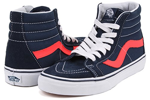 Vans Ua Sk8-Hi Reissue, Sneakers Hautes Homme (neon Leather) Dress Blues/neon Red