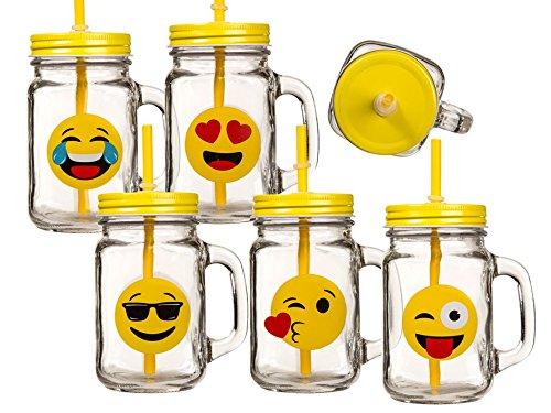 BICCHIERE emoticon vaso conserve manico coperchio cannuccia aperitivo (Vaso Di Vetro Bicchiere)