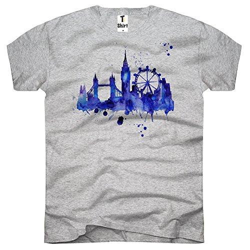 TEE-Shirt, Herren T-Shirt mit Aufdruck . Coole Motive. T-Shirt mit London Skyline Druck. Grau