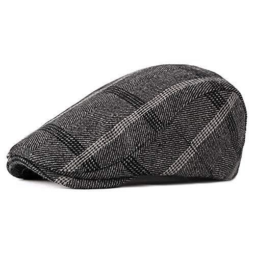 ZLSLZ Herren Golfmütze, verstellbar, kariert, Ivy Newsboy Cabbie Gatsby - Grau - Einheitsgröße -
