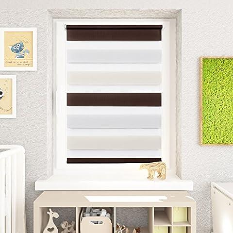 Fenster Duo Klemmfix Rollo Doppelrollo weiß jalousie Rollo ohne bohren Kinderzimmer - Weiß-Beige-Braun - 75 x 230