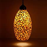 #10: Earthenmetal Handcrafted shell crystal decorated Glass mosaic hanging Light