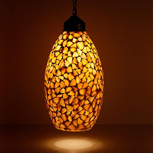 Earthenmetal Handcrafted Shell Crystal Decorated Glass Mosaic Hanging Light